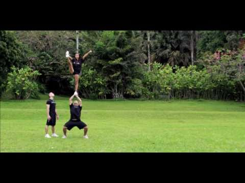 College Cheerleading Partner Stunts Amaze